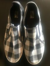 VANS Off the Wall Checkered Black White Slip On Shoes Women's 9 see photos