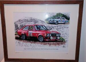 Rare Last Copy Roger Clark RS1800 Escort RAC Rally Car Tony Pond Framed Picture