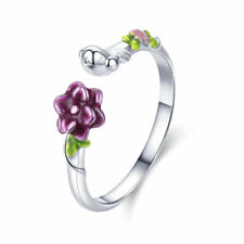Authentic 925 Sterling Silver Birds Blooms Open Wedding Finger Ring Jewelry Gift