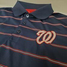 New listing Mens M Antigua Washington Nationals Short Sleeve Golf Polo Shirt Blue Stripe MLB