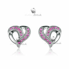18k white gold gf made with SWAROVSKI crystal stud earrings rose red love heart