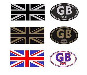 Union Jack + GB Oval Silver Or Gold & Black  or Colour Car Van Bumper  Sticker