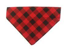 Fall Dog bandana slip over the collar Red Black Buffalo Check Plaid winter