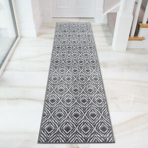 Grey Moroccan Long Hall Runner Geometric Trellis Runner Rugs Carpet CLEARANCE