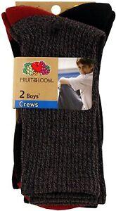 Fruit Of The Loom Boys 2 Pack Soft Rugged Crew Socks