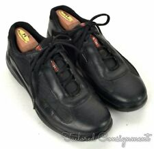 PRADA America's Cup Solid Black Leather Mesh Mens Shoes Sneakers - 8