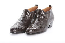 NWOT Mens GIORGIO BRUTINI Chelsea Boots 9M in Chocolate Brown Genuine Snakeskin