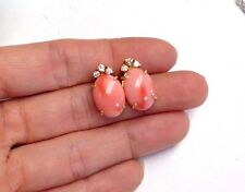 Natural Untreated 8CT Salmon Coral and .20CT Diamond 14K Gold Post Earring Studs