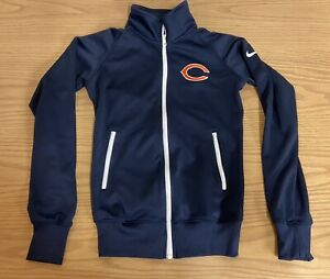 CHICAGO BEARS NIKE DRI-FIT ZIP UP WORKOUT JACKET GIRLS XS NFL FOOTBALL CLOTHING