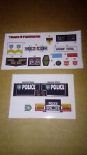 A Transformers complete premium quality replacement decal sheet for G1 Prowl