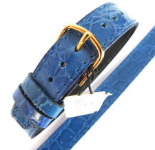 14mm 1 PIECE LEATHER WATCH STRAP. CROC GRAIN LEATHER. BLUE. LONG EASY TO  FIT