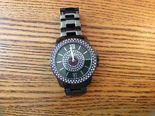 EXPRESS SMOKE BLACK WITH PURPLE RHINESTONES METAL LINK BAND WATCH