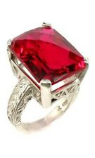 Handcrafted 19ct Red Topaz Gemstone Ancient Egypt Sun God Ra Magick Silver Ring