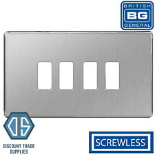BG Brushed Steel Screwless Satin Chrome 4 Gang Metal Front Cover Plate GFBS4