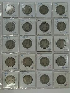 20 Coin Page Barber Half Dollars 1899-1912 G/AG.  #27