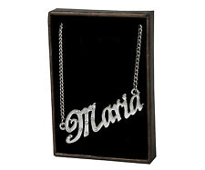 Collar de nombre Maria-de 18 quilates chapado Oro Blanco Plateado-Aniversario Elegante Personalizado