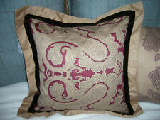 CHARISMA ORLANDO DECORATIVE PAISLEY SQUARE PILLOW RUBY RED BROWN