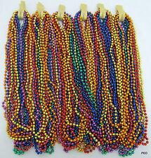 Mardi Gras Beads 33 in Rainbow Metallic 6 dz Throw Spirit Necklace 72 Strands