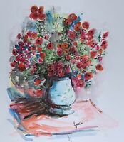 PRINT from original art watercolour vase of flowers home decor modern red/blue