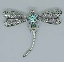 DRAGONFLY Abalone Shell  Pendant cum Brooch in 925 Sterling Silver 4.8 cm #G30