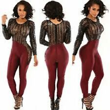 Burgundy & Black Hollow Out Long Sleeve Jumpsuit Catsuit Size L