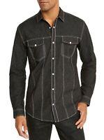 INC Mens Shirt Black Silver Size 2XL Button Down Lambert Snap Shimmer $65 349