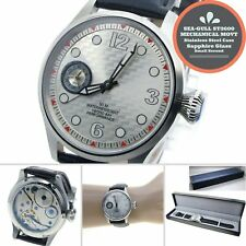 44mm STEEL Men Watch 6497 SEA-GULL ST3600 Swan-Neck Movement Sapphire Glass W459