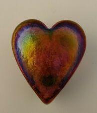 Robert Held Art Glass Paperweight Iridescent Pink Heart