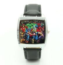 Marvel DC Avengers Hulk Iron Man Leather Quartz Steel Square Wrist Watch Black