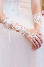 Guanti polsini sposa matrimonio bride gloves pizzo mani BIANCO lace raso