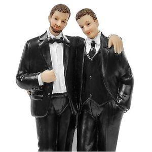 Same Sex Couple Cake Topper - Groom Wedding Celebration Cake Topper