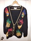 Christmas sweater cardigan by Norton McNaughton size small with bells ugly bows