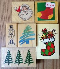 Lot of 6 Christmas Rubber Stamps Tree Santa Claus Stocking Nutcracker