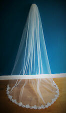Wedding Veil *Cathedral Length*1 Tier*Wide Corded Lace*Bespoke*ivory/off white*