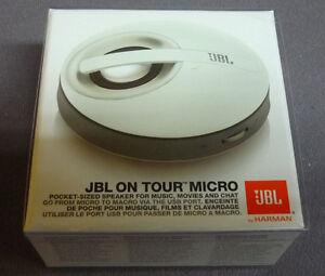 JBL ON TOUR MICRO PORTABLE IPOD IPHONE IPAD MP3 LAPTOP PC SPEAKER SYSTEM WHITE