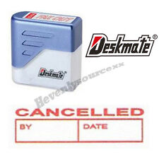 { CANCELLED BY DATE } Deskmate Red Pre-Inked Self-Inking Rubber Stamp #KE-C10A