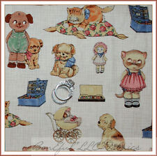 BonEful Fabric FQ Cotton Quilt Baby Kitty Cat Dog Paper Doll Girl Boy Nursery US
