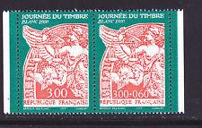 FRANCE N° 3136A ** MNH neuf, paire P3136A journée du timbre, TB, cote: 5.00 €