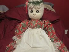 "Vintage Patches of Coal Mountain Cloth Doll-28"" Signed Christmas Clothing Wva"