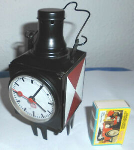 Mini DB Eisenbahnlampe, Zug-Schlusslaterne mit Quartzuhr