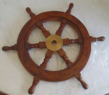"""Wood and Brass Ship's Wheel 18"""" spokes"""