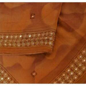 "Tcw Vintage Crepe Silk Hand Embroidered Design Fabric Decor Craft 17""X44"""