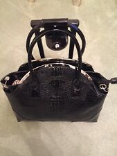NEW WEEKEND CARRY ON BAG. BLACK PATIENT LEATHER,  WHEELS AND HANDLE 18X18IN'