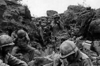 WWII photo American Marines rest during the fighting in Iwo Jima 18i