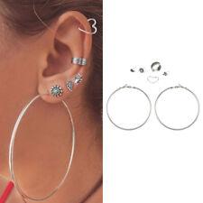 2019 Fashion Bohemia Turquoise Circle Heart Ear Stud Clip Earrings for Women New