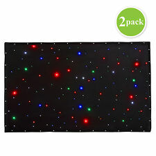 2Pack 3x2m LED Stage Star Cloth Matrix Backdrop Horizon DJ DMX Curtain Retardant