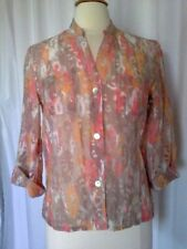 SIZE 10P - New $54.00 RUBY RD. Petite Burnout Top Shirt Brown Orange