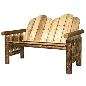 Outdoor Log Benches Amish Made Rustic Porch Bench Lodge Cabin Montana Furniture
