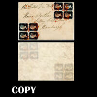 GREAT BRITAIN 1840 2 blocks of 4 , used from Limerick via Hull to Hamburg,  COPY