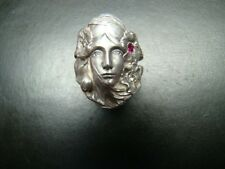 Beautifully detailed Sterling Silver Art Nouveau style ring with diamonds / ruby
